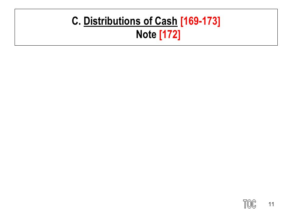 C. Distributions of Cash [169-173] Note [172]